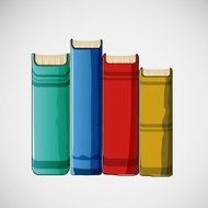 Set of different books stacked. Vector design