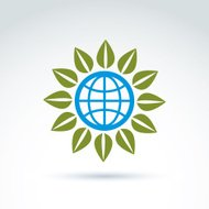 Globe with leaves growing icon, ecological environment theme