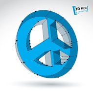 3d mesh blue web peace icon isolated on white background