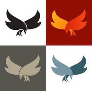 Fire bird silhouette icon. Vector graphics.