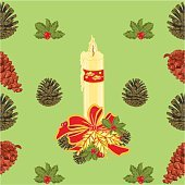 Seamless texture christmas candle with pine cones vector