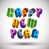 Happy New Year card with phrase made, 3d retro style