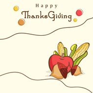 Thanksgiving celebration concept with fruits and vegetables.