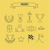 set of vector award success and victory icons