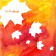 Watercolor painted maple leaves autumn background
