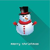 Merry Christmas pixel art style snowman poster for party