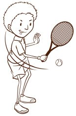 Simple sketch of a boy playing tennis