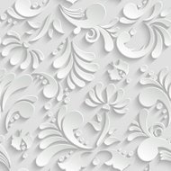 Abstract Floral 3d Seamless Pattern, Trendy Design Template