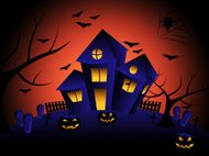 Haunted House Indicates Trick Or Treat And Autumn