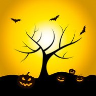 Halloween Tree Means Trick Or Treat And Bat