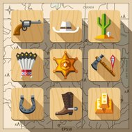 Cowboys and Wild West. Vector flat icon set