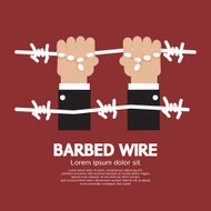 Barbed Wire With Hand Vector Illustration