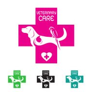 Vector image of veterinary symbol with dog cat and bird