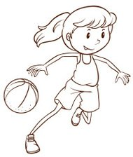 Simple sketch of a female basketball player