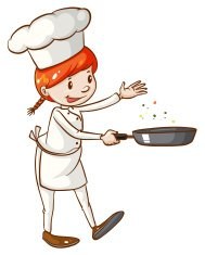 Simple sketch of a female chef