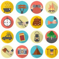 Modern Flat Design Camping And Outdoor Activity Icon Set Vector