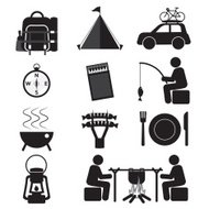 Camping And Outdoor Activity Icon Set Vector Illustration
