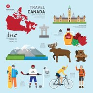Travel Concept Canada Landmark Flat Icons Design .Vector