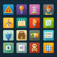 Electricity and light. Vector flat icon set.