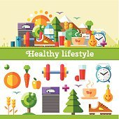 Healthy Lifestyle Flat Illustration