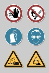 Design elements - warning signs, icons, symbols