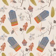 Vintage Christmas card. Mittens with pine cones seamless pattern.