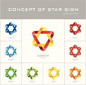 Six-point star logo design template different colors