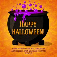 Happy halloween cute retro banner on craft paper texture with