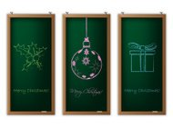 Christmas label set with christmas decorations