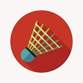 badminton ball flat icon with long shadow,eps10