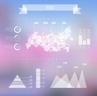 Abstract Russia Map with Infographic Elements on Blurred Backgro