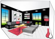 Colorful illustration of a retro living room interior design