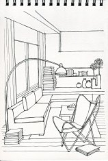 Freehand drawing of modern living room interior illustration