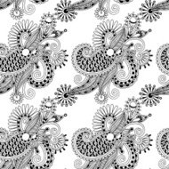 digital drawing black and white ornate seamless flower paisley d