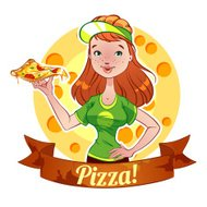 Red-haired girl with pizza