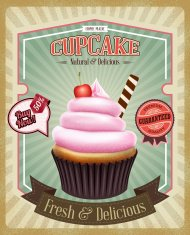 Vintage background avec cupcake