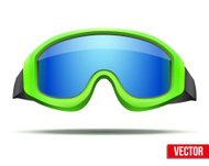Classic green snowboard ski goggles with blue glass. Vector