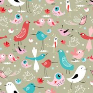 seamless graphic floral pattern with birds