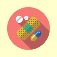 Patch and pills long shadow design medical icon. Vector illustra
