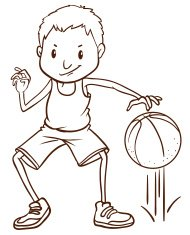 Simple sketch of a basketball player