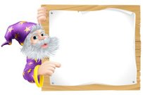 Wizard and wooden sign