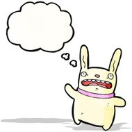 cartoon crazy rabbit with thought bubble