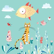 texture of the fun loving cats and fish
