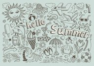set of sketch design element summer theme with lettering Hello