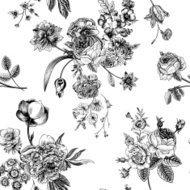 Seamless vector vintage pattern with Victorian bouquet