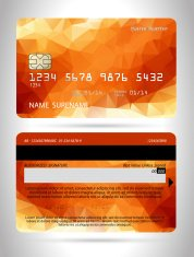 Templates of credit cards design with a polygon background
