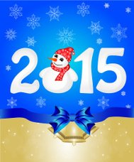 Happy New Year 2015 From Snow With Snowman