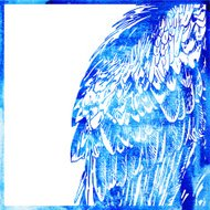 watercolor animal background in a blue color, wing of bird,