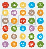 SEO and marketing icon set,colour version,clean vector