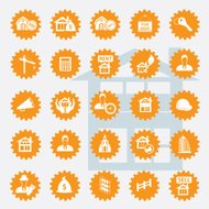 Real estate icon set,orange version,clean vector